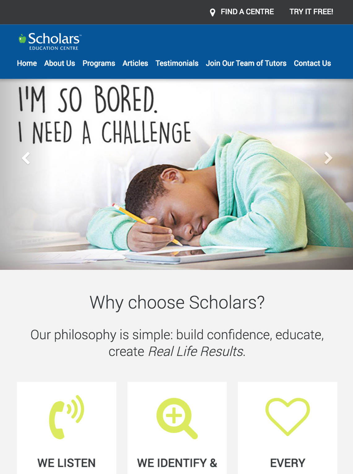 Scholars Canda Homepage on a Tablet